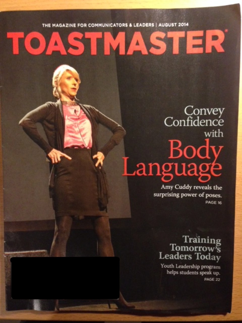 Amy Cuddy on the cover of Toastmaster Magazine